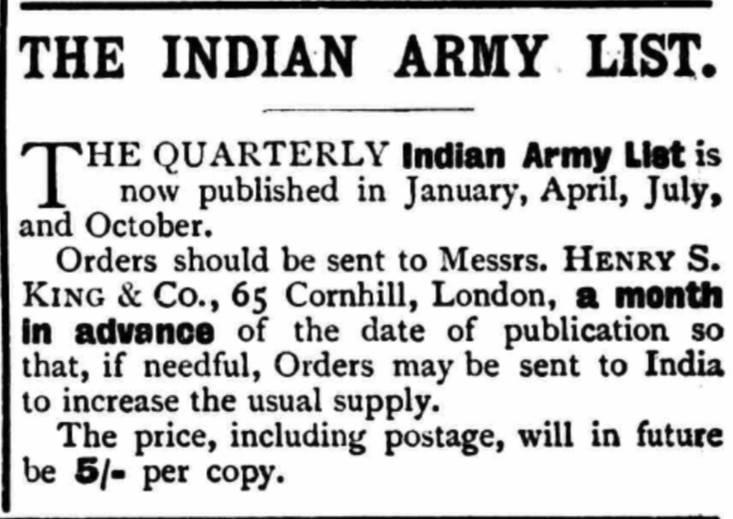Indian Army List