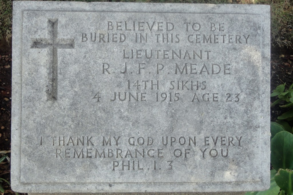 Gravestone of Lieutenant Meade, 14th Sikhs.