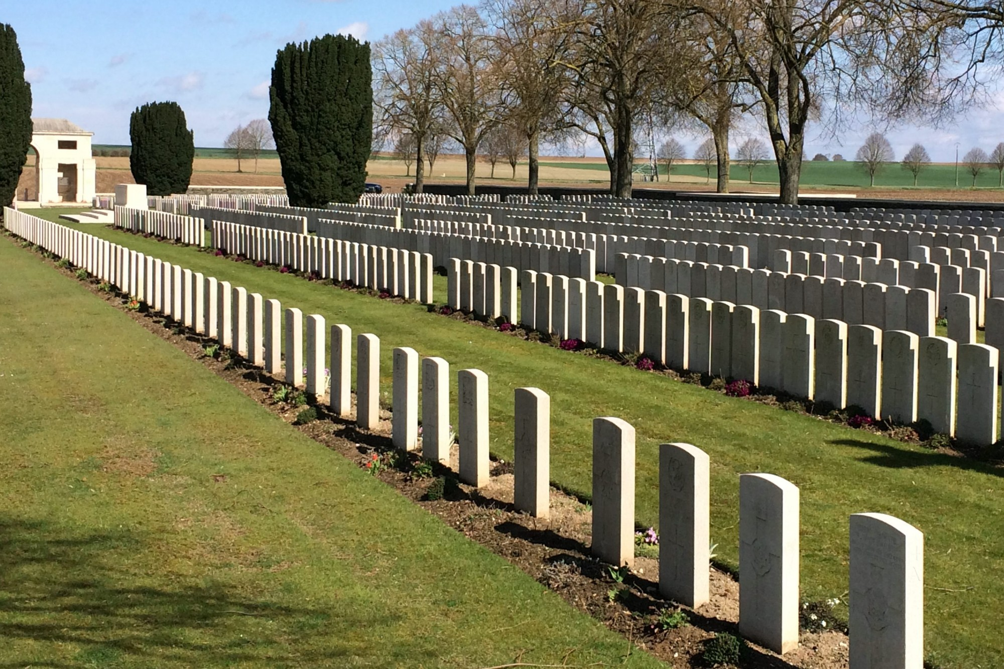 Rows of graves at Brown's Copse Cemetery