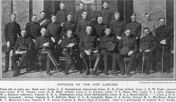 Officers of the 16th Queen's Lancers British Cavalry WW1