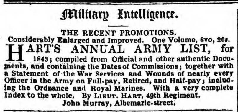 Hart's Army List Advert