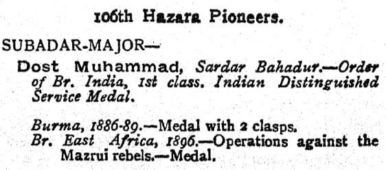 Indian Army List 106th Hazaras