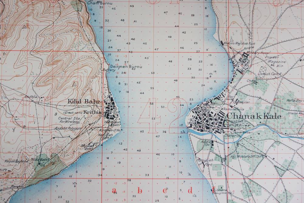 Canakkale Gallipoli Map dated July 1915