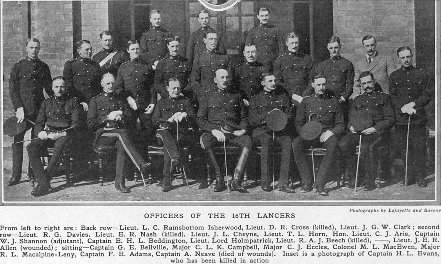 16th (Queen's) Lancers Officers WW1